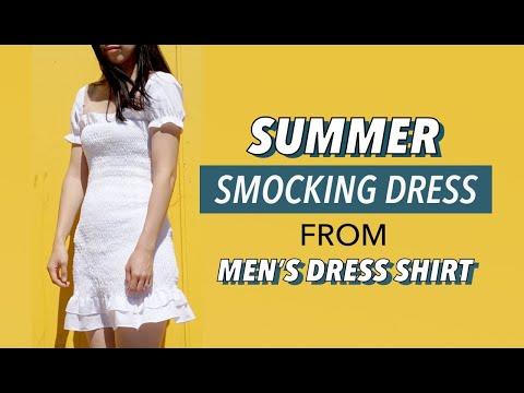 Smocking Dress From Men's Dress Shirt (Upcycle Clothing!)