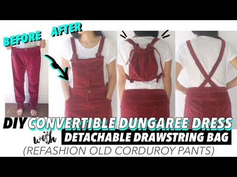 DIY Dungaree Dress From Old Corduroy Pants (With Detachable Drawstring Bag!)