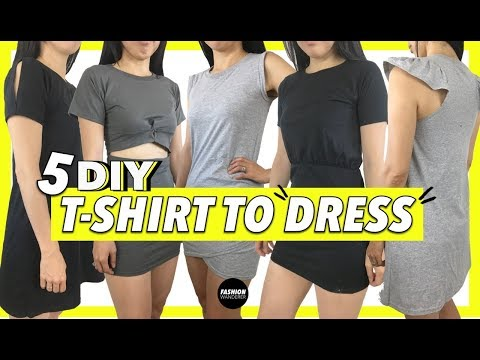 T shirt To Dress (5 DIY T shirt Dress Upcycle Projects)