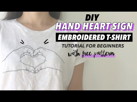 Hand Heart Sign DIY Embroidered Shirt Tutorial (For Beginners) | Fashion Wanderer