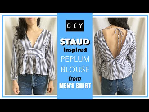 Peplum Blouse From Men's Dress Shirt (Staud Inspired)