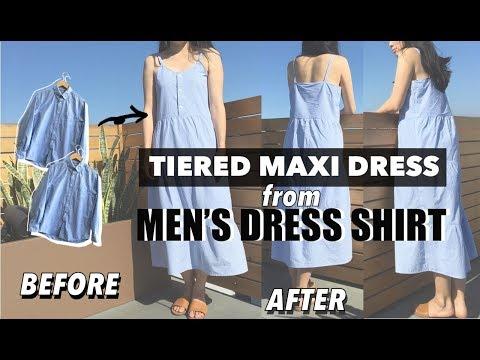 Tiered Maxi Dress From Mens Dress Shirt