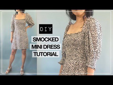 Elania Dress Tutorial I DIY Smocked Puff Sleeve Mini Dress