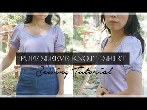 Everly Top Tutorial | DIY Puff Sleeve Knot T Shirt