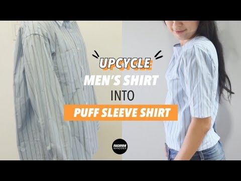 Puff Sleeve Blouse From Men's Dress Shirt