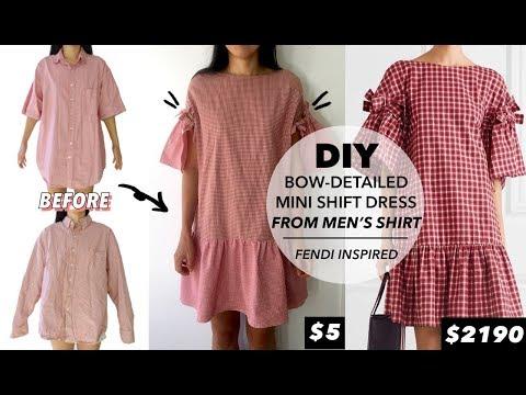 DIY Bow-Detail Mini Shift Dress From Men's Dress Shirt (Fendi Inspired)