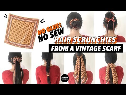 No Sew DIY Vintage Hair Scrunchies (Without Glue)