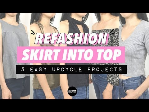 Refashion Skirt Into Top (5 Zero Waste Upcycle Projects)
