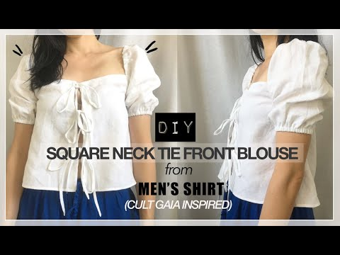 Square Neck Tie Front Blouse From Men's Shirt (Cult Gaia Inspired)