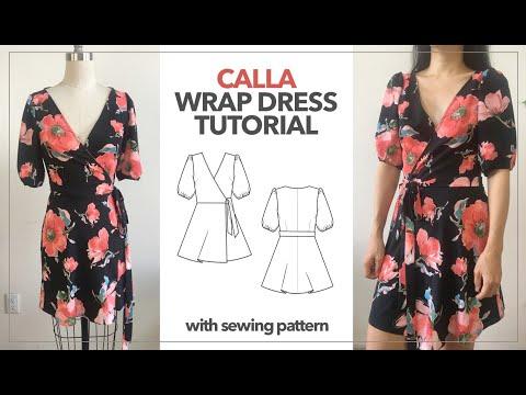 Calla Wrap Dress Tutorial | Free Wrap Dress Sewing Pattern