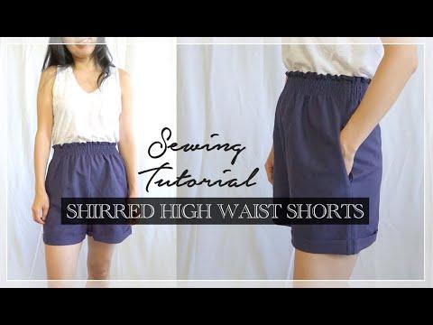 Evie Shorts Tutorial   DIY Shirred High Waist Shorts
