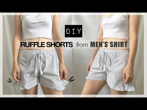 Ruffle Shorts From Men's Dress Shirt