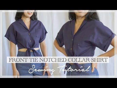 Evie Shirt Tutorial I DIY Front Tie Notched Collar Shirt
