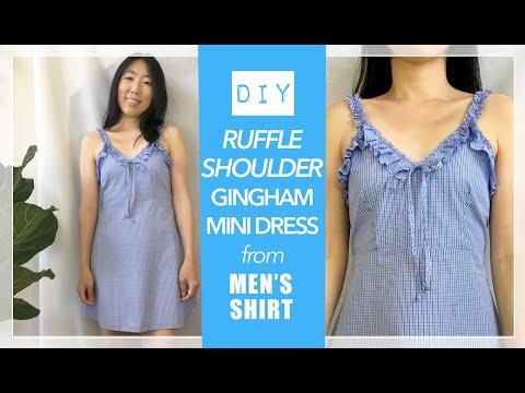 Ruffle Shoulder Mini Dress From Men's Shirt