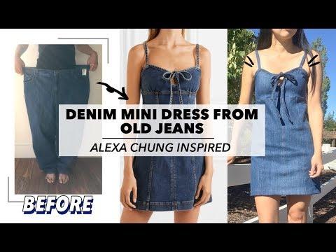 Refashion Denim Mini Dress From Old Jeans (Alexa Chung Inspired) | $5 Fashion Challenge