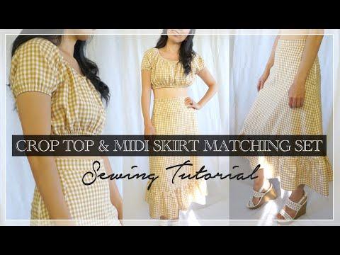 Cora Matching Set Tutorial   DIY Crop Top Midi Skirt Set