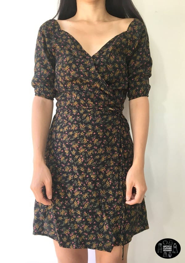 Front view of the DIY wrap dress