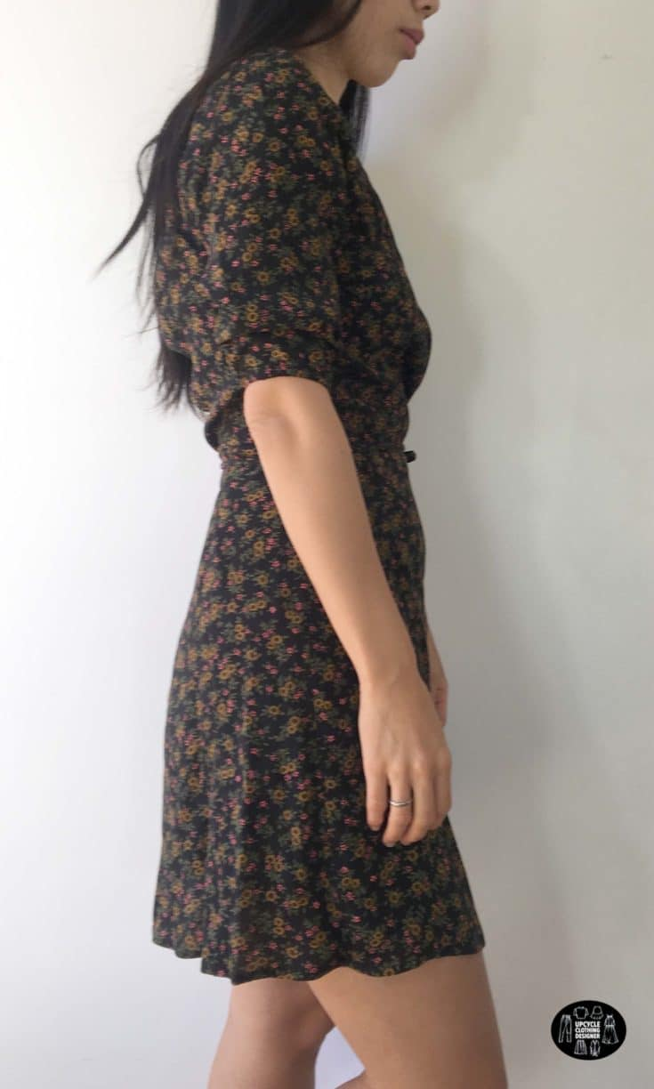 Sideview of the DIY wrap dress