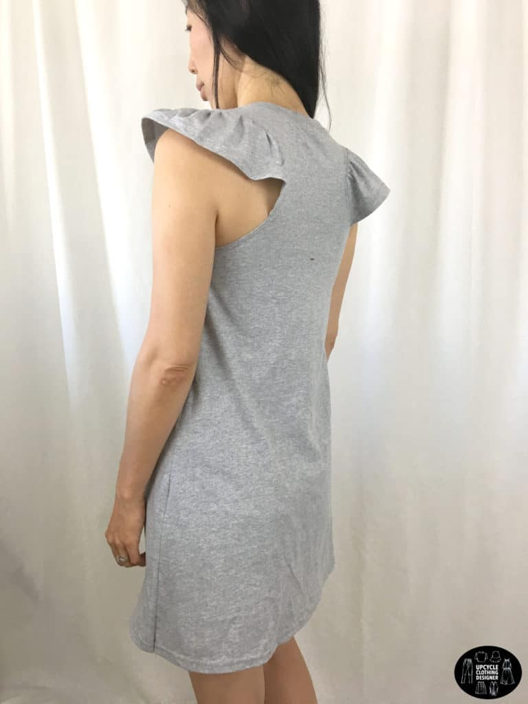 DIY racerback t-shirt dress back view showing off the racerback design with ruffles