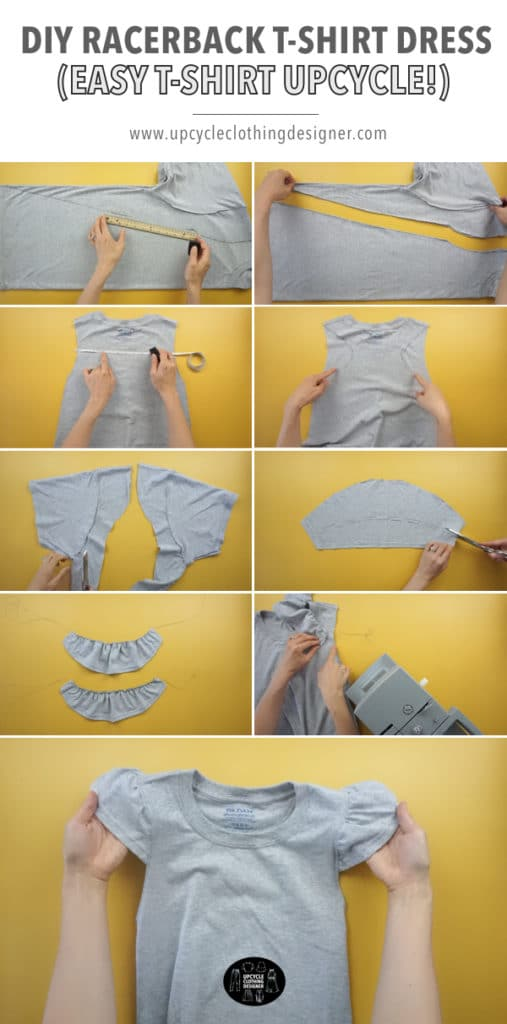 How to make a DIY racerback t-shirt dress from a tee. Step-by-step photos of each part of the process