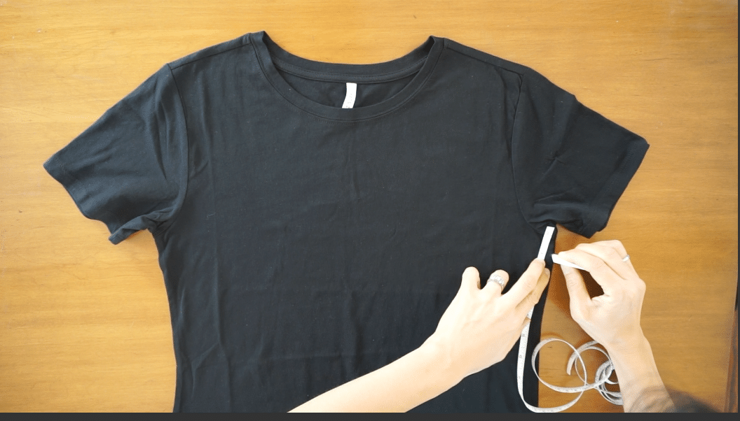 measure from the under arm down the sides for the other mark of the sleeveless tank top.