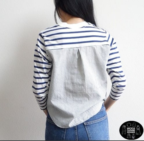 Back view of the diy knit woven mix top