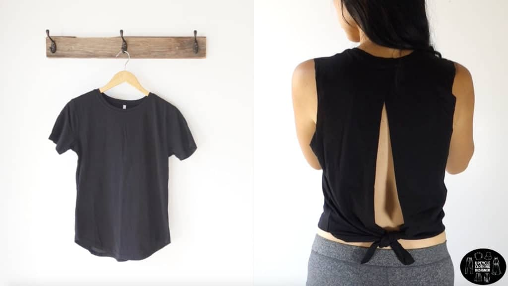 Before and after photo of the t-shirt compared to the no sew back slit tie tank top.