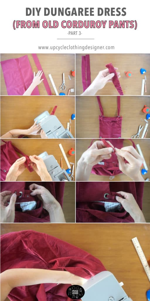 How to make the bottom of the DIY dungaree dress from old corduroy pants