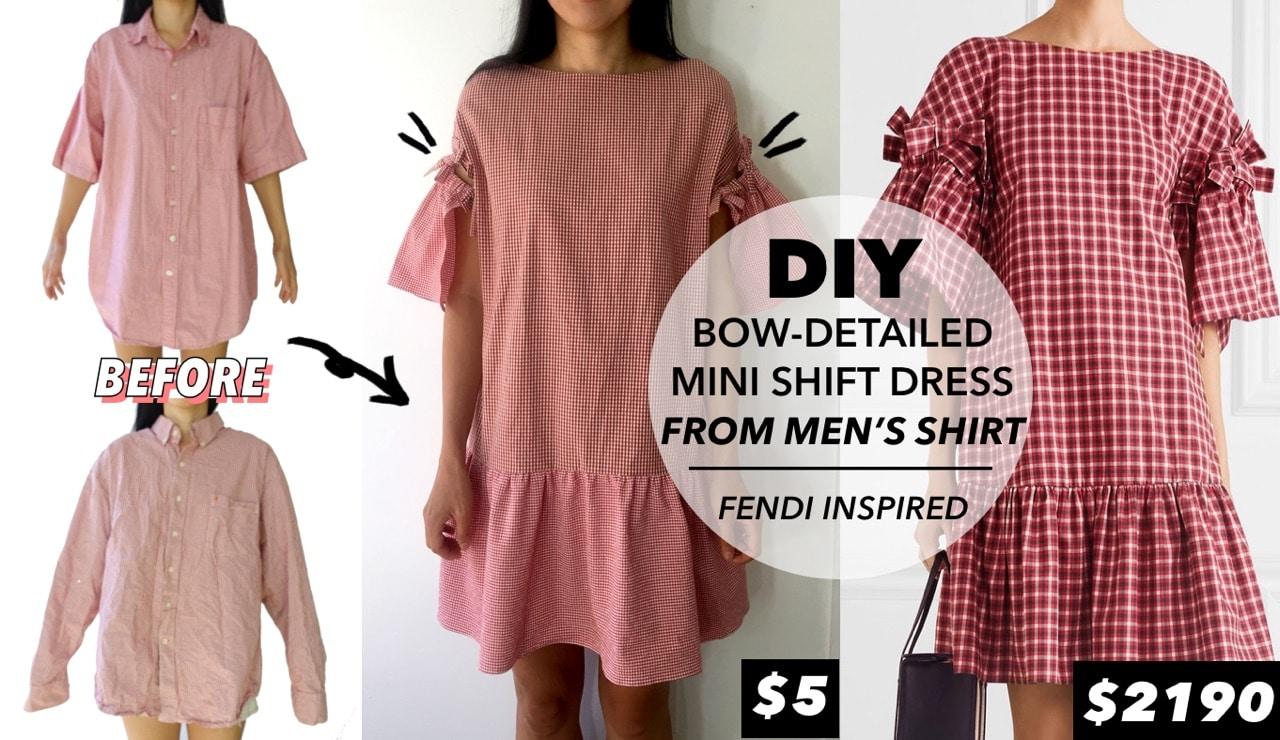 Before and after mens dress shirt into diy mini shift dress