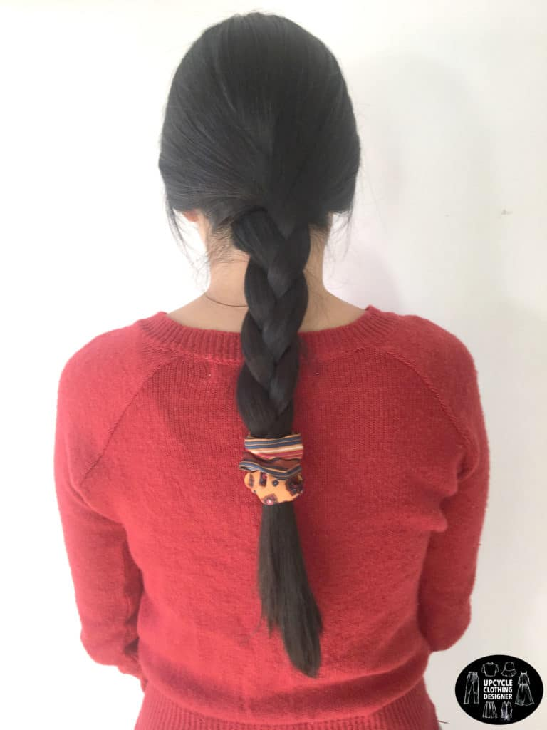DIY no sew hair scrunchie in a braid hairstyle