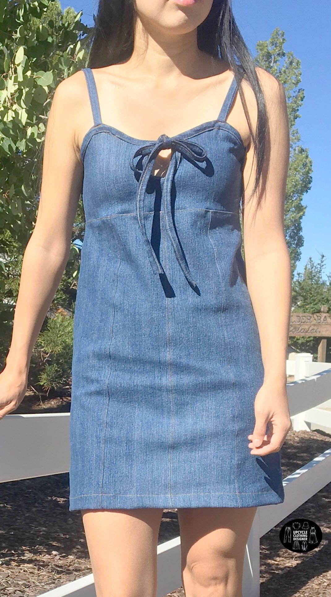 Refashion Denim Mini Dress From Old Jeans