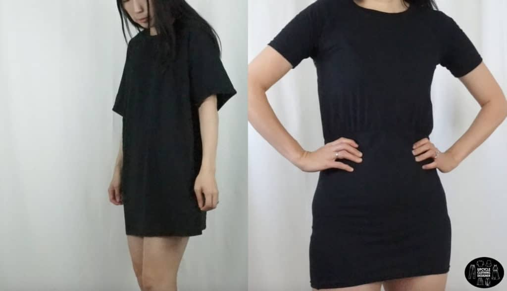 DIY blouson dress from t-shirt before and after
