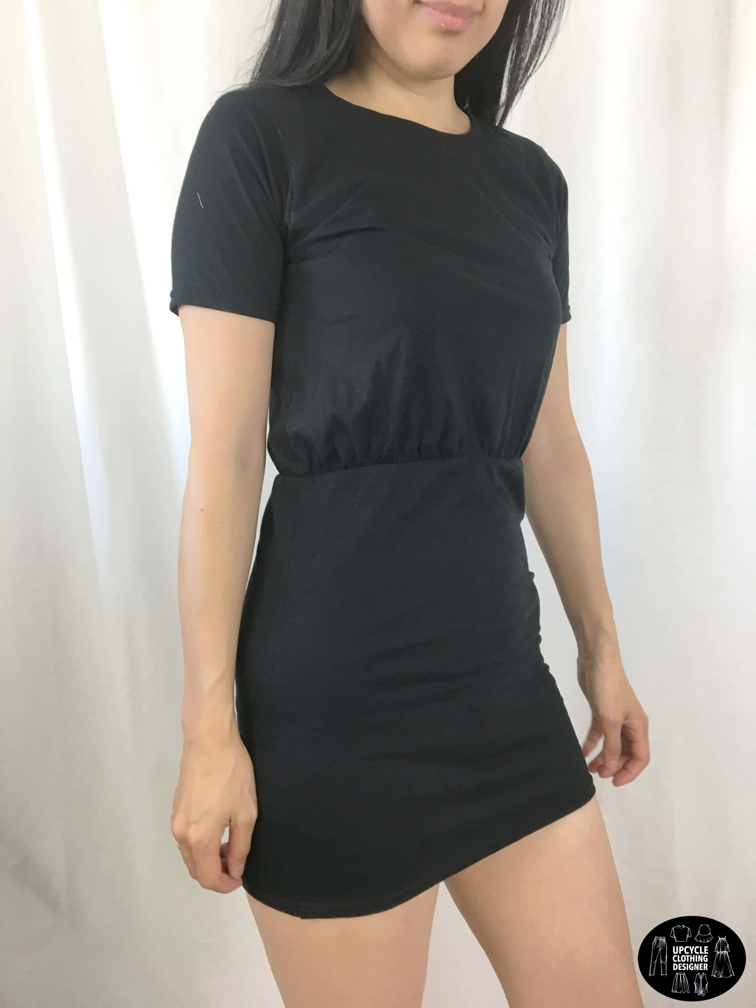 DIY blouson dress from t-shirt sideview