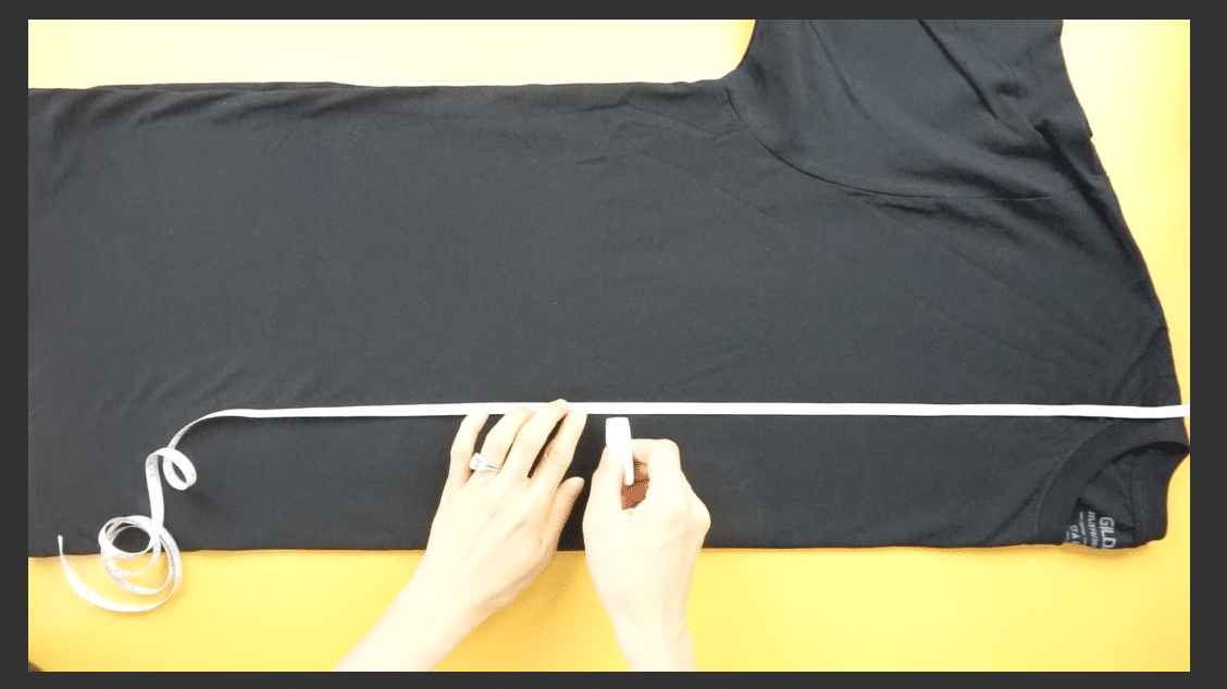 Measure from the high point on the shoulder to mark the waistband.