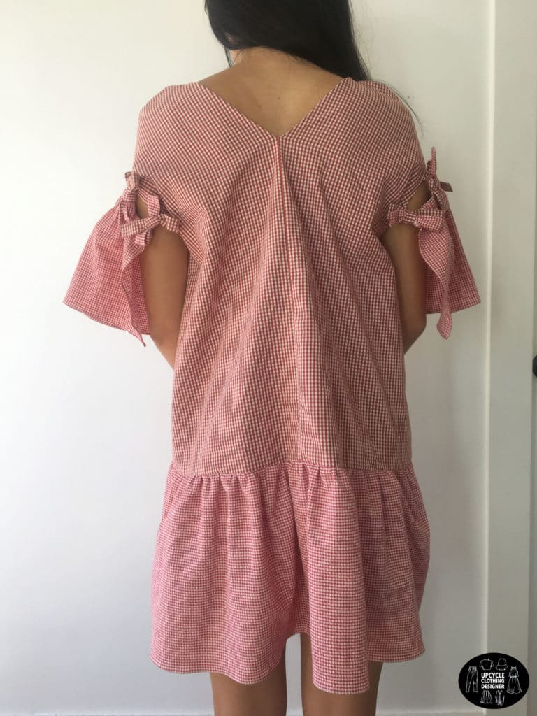 Back view of DIY mini shift dress from mens dress shirt