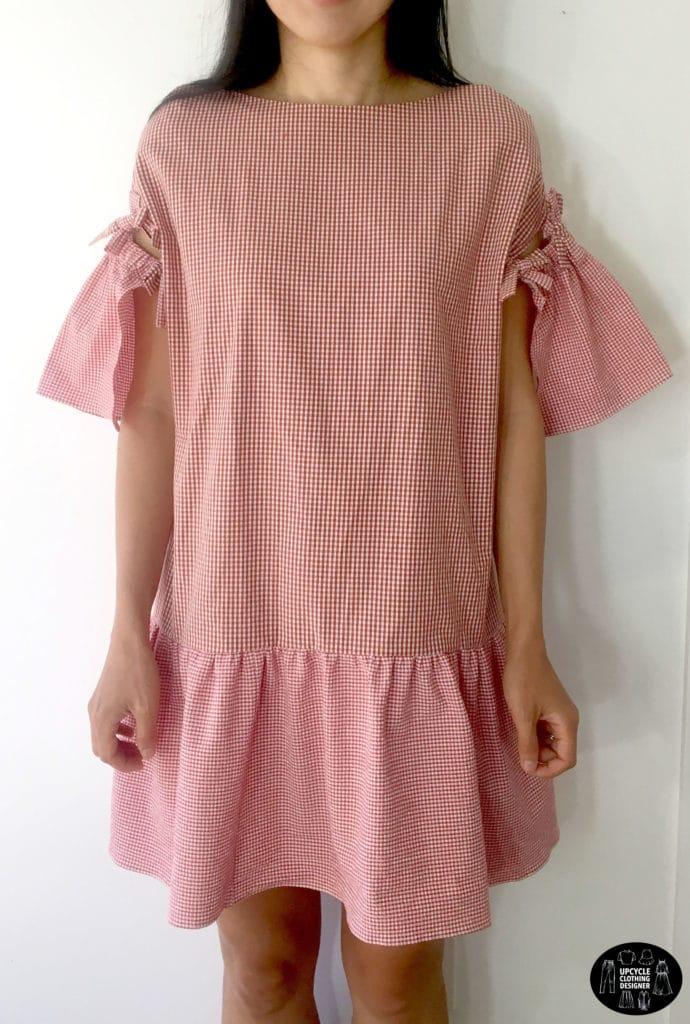 Front view of DIY mini shift dress from mens dress shirt