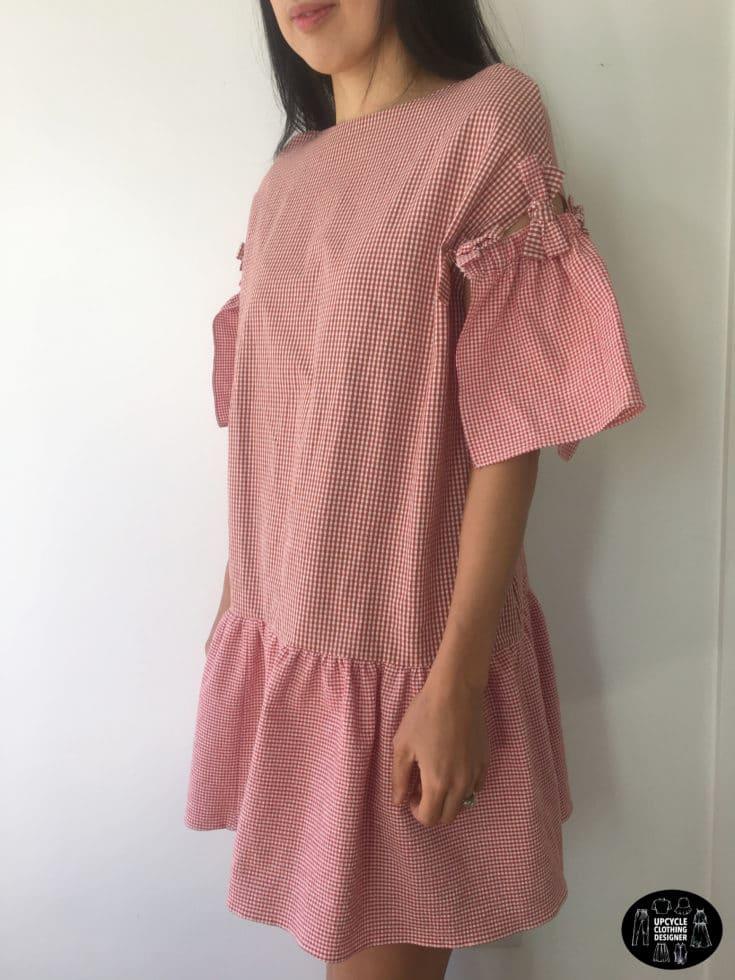 Sideview of DIY mini shift dress from mens dress shirt