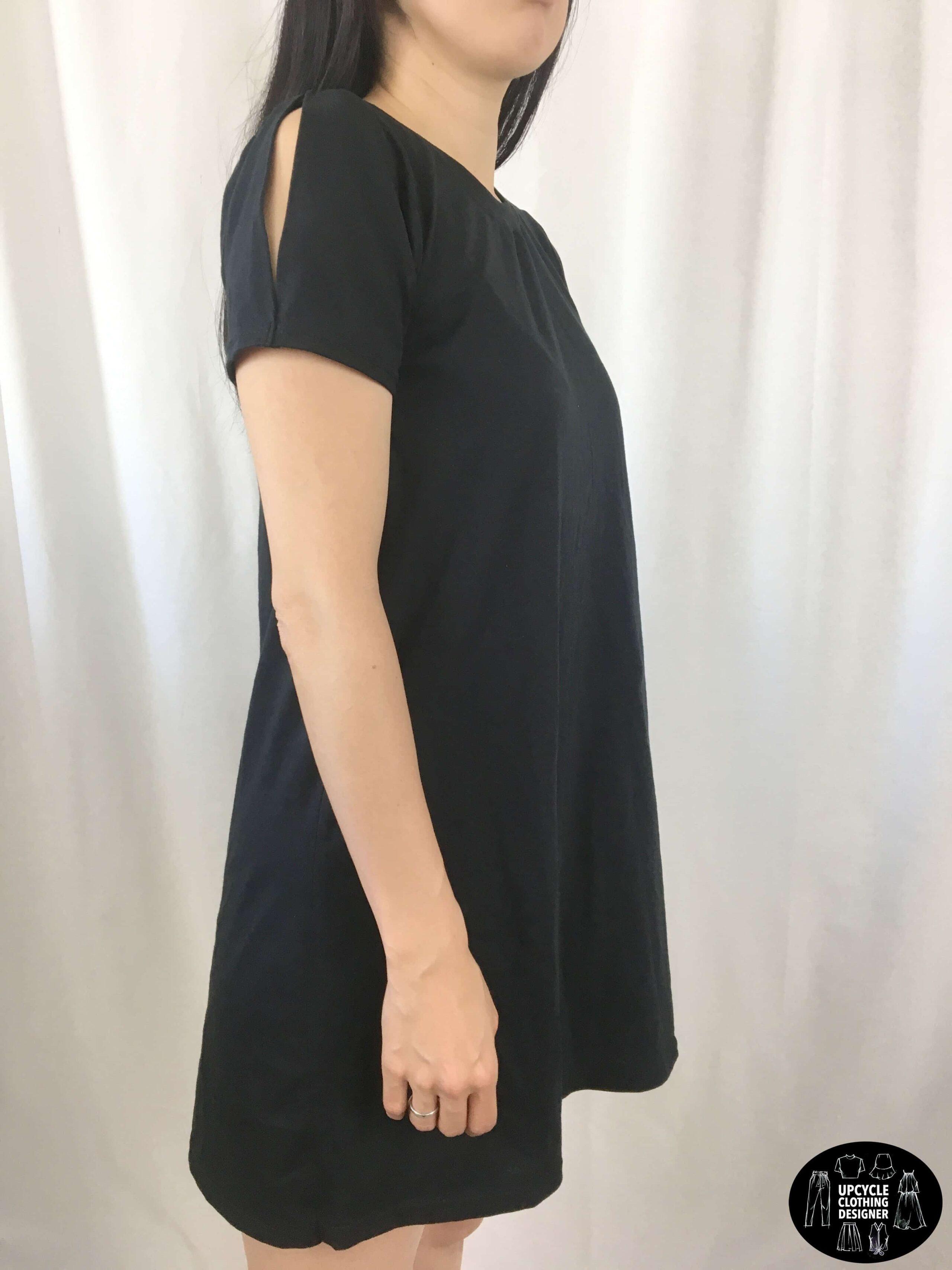 DIY cold shoulder t-shirt dress sideview