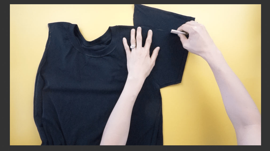 Use the armhole opening to measure and mark the new cold shoulder sleeves