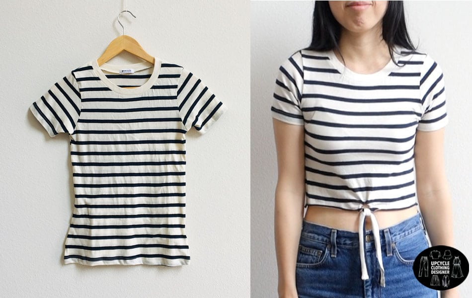 Before and after comparing the t-shirt to the finished no sew crop top