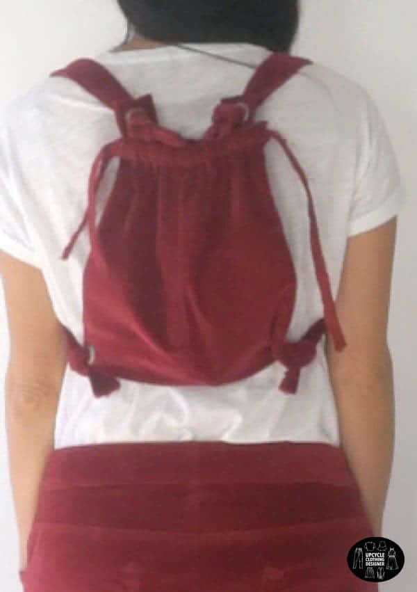 Back view of the DIY dungaree dress from old corduroy pants
