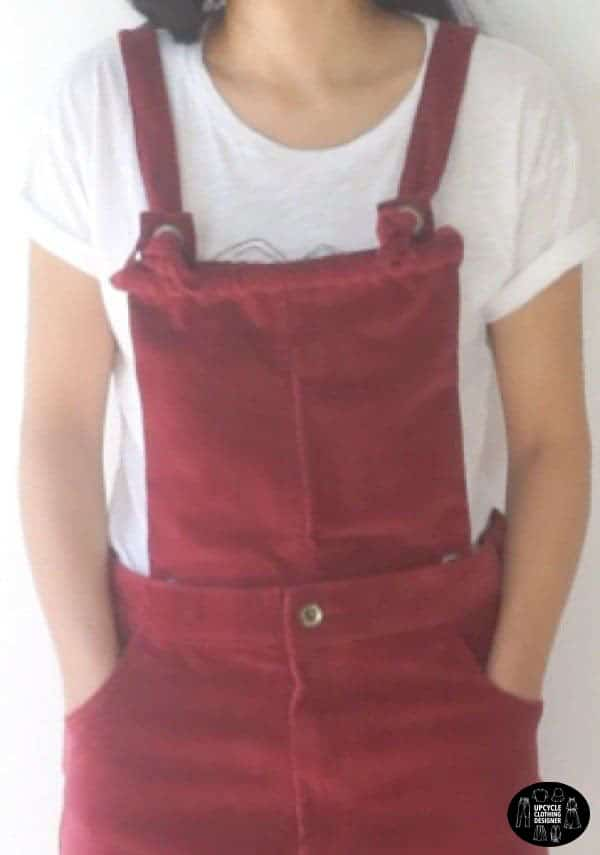 Front view of the DIY dungaree dress from old corduroy pants