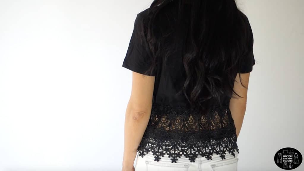Backside view of the diy peplum top. The lace trim wraps around the entire midsection of the top.