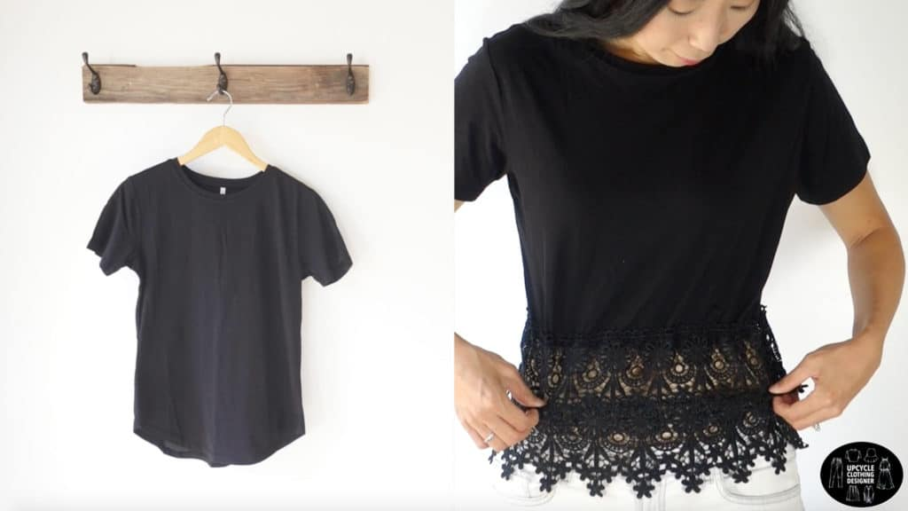 Before and after image comparing the plain black t-shirt to the finished diy lace peplum top.