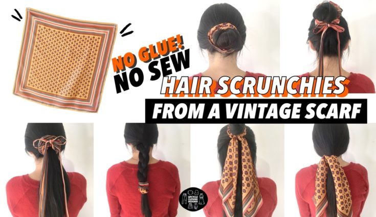 DIY no sew hair scrunchie from a vintage scarf before and after