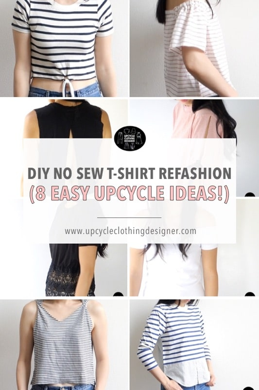 DIY no sew t-shirt refashion projects. The step-by-step no sew tutorials demonstrate how to upcycle a t-shirt without sewing.