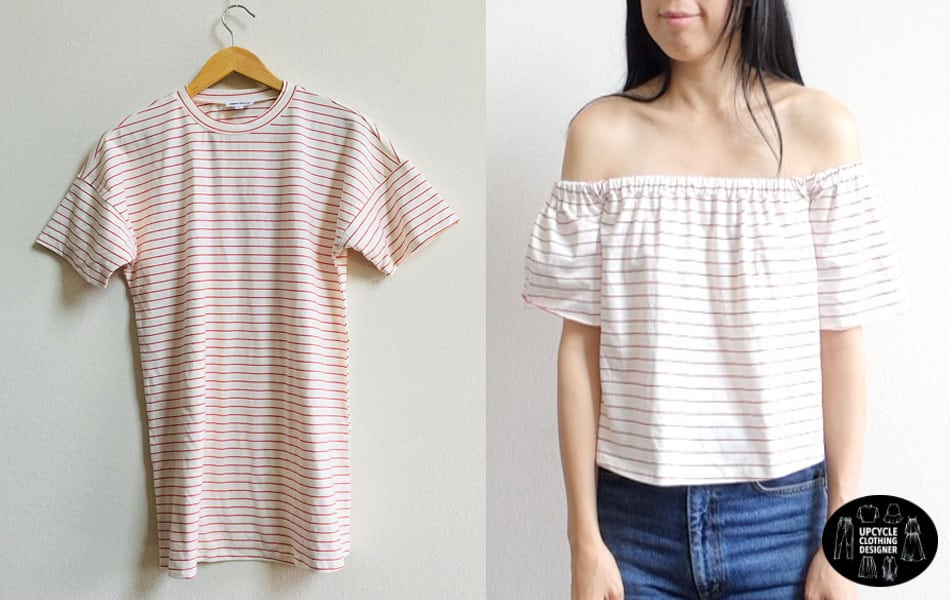 Before and after of the diy off the shoulder t-shirt