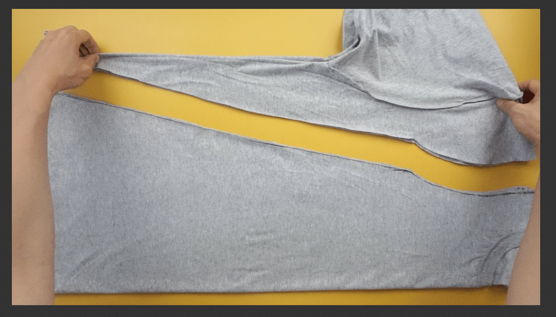 Cut along the marked line to remove excess fabric