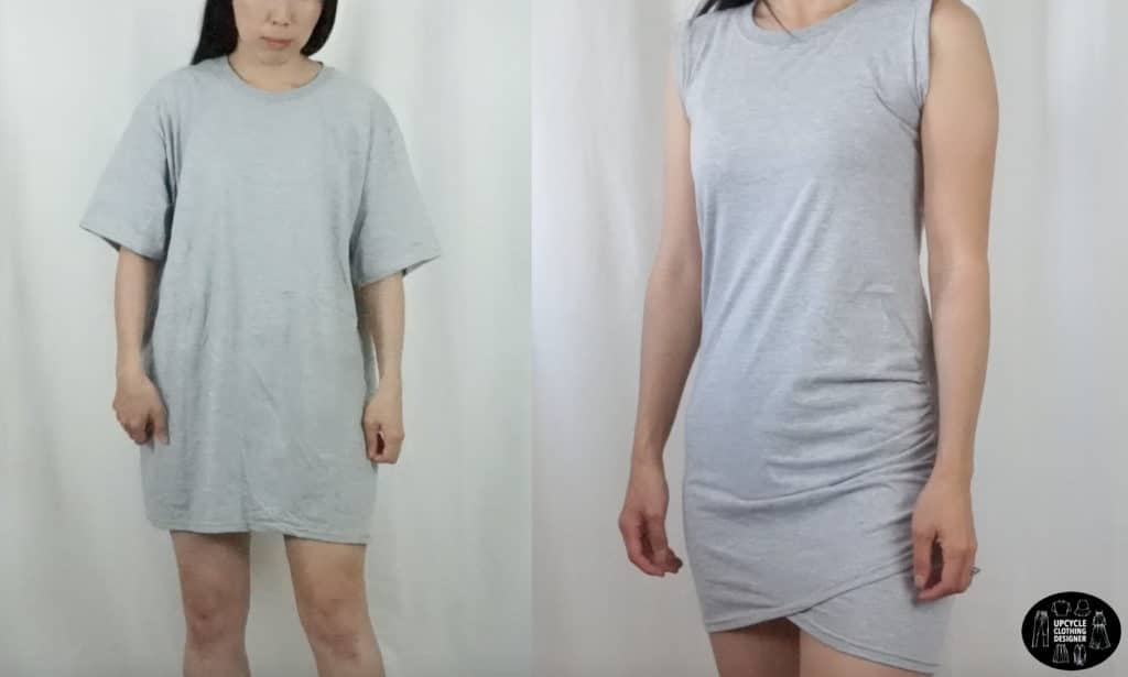 DIY side shirring dress from t-shirt before and after