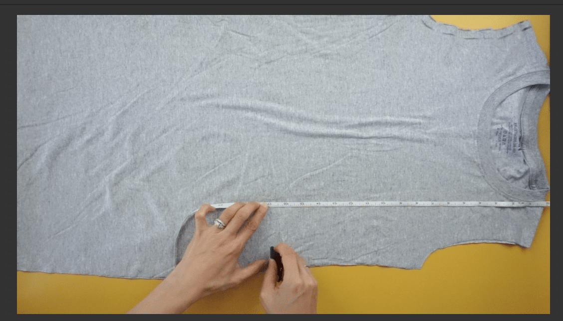 Measure and mark the placement for the side shirring